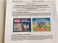2x Adult Alton towers tickets Friday 11 August 2017