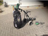 Powakaddy golf trolley with bag