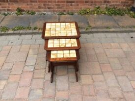 G Plan nest of 3 tile top tables