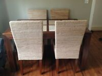 Marble and wood dining table with 2 chairs