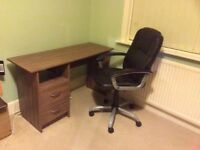 Desk and swivel chair set