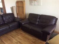 Leather suite for sale - 2 seater and 3 seater brown leather suite in good condition.