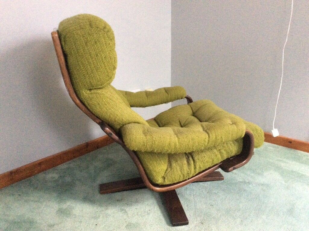 Vintage 1960 s 70 s danish bent wood swivel chair in for 70s wooden couch
