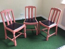 3 Wooden kitchen chairs