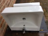 Ideal Standard white sink, mixer tap and pop-up waste