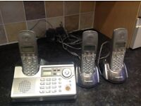 Panasonic home phone system .Homehub/ answering machine plus two plug in extensions