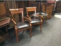 Reduced 2 mahogany chairs with arms