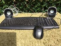 Computer key in black, complete with mouse and 2 speakers as new condition .
