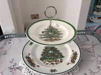 Large 2 Tier China Christmas Tree Cake Stand.