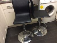 Black leather bar chairs x 2 adjustable height
