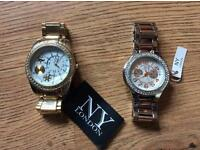 X2 brand new watches New York London still with tags on worth £50 each give me a offer thanks.