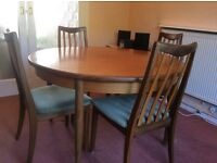 G plan extending table and 4chairs