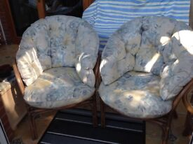 BAMBOO/WICKER CONSERVATORY CHAIRS WITH CUSHIONS
