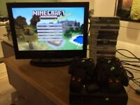 Xbox 360 console, x3 controllers, x25 games, Acoustic 22inch digital TV with inbuilt DVD player.