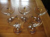 Five Babycham glasses
