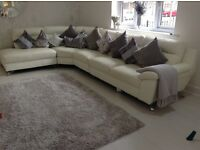 Dfs 1 year old white leather corner sofa