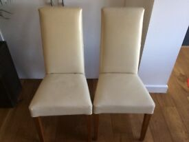 2 x leather dining chairs