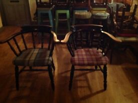 captains chairs x2 newly upholstered in Abraham moon fabric