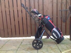 Junior Wilson Golf Club Set with Trolley