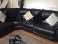 Black leather reclining sofa vgc