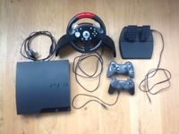 SONY PS3 with Steering Wheel, Pedals & 2 Controllers - Immaculate Condition