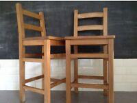 Breakfast Bar Stools Oak Kitchen Chairs Rustic Farmhouse