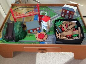 Big City Wooden Rail Toy Train table and accessories
