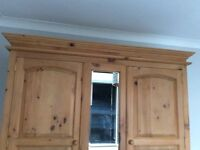 Natural Pine Wardrobe. 2 doors, Mirror & 5 Drawers. Free standing. Lovely condition. Collection free