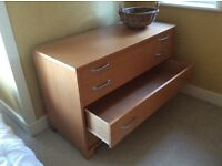 Habitat chest of 4 drawers..120cm x 52cm x 80cm high. Light colour wood