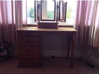 Pine dresser with 4 drawers and a three glass mirror