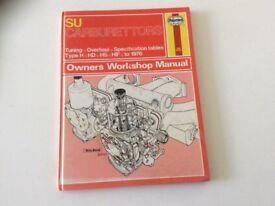 Haynes hardback SU Carburettors tuning, overall, specification tables.