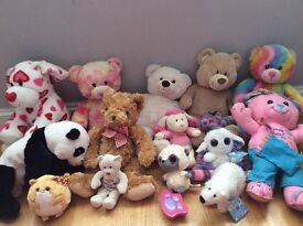 Selection of soft toys including 5 build a bears