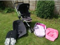 QUINNY BUZZ BLACK PUSHCHAIR WITH EXTRAS