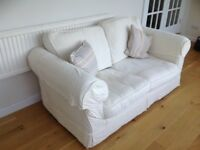 Cream 2 Seater Loose Cover Sofa Bed