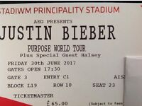 2 Justin bieber tickets Friday 30th June 2017 block L19 Row 10 seats 23 and 24