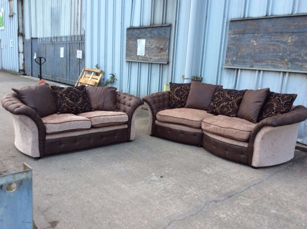 Brown & Beige Leather & Fabric 3 & 2 Seat Sofa Set - Ex Display - £299 Including Free Local Delivery