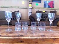 EXCELLENT CONDITION 8 piece etched ribbon wine glass/ tumbler set