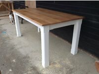 New solid pine/oak dining table benches chairs solid oak top handmade rustic farmhouse furniture