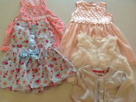 Girlsparty dresses and cardi and gilet bundle age 18-24 mths