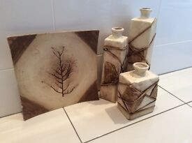3 vases and wall/table plate