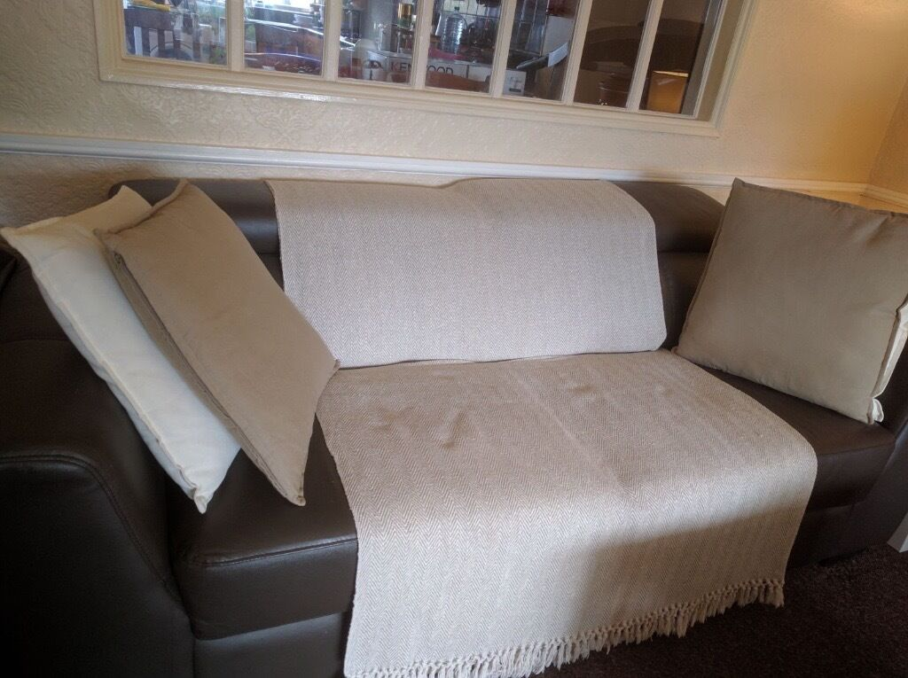 3 & 2 Brown Seater Leather Sofa FREE