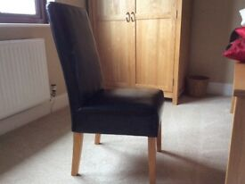 Black Leather Dining Chairs x 8