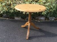 Ducal Pine Round Pedestal Side Table sanded & waxed top.