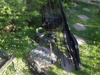 fishing gear .. 3 rods 3 reels , box , net , carp pod etc