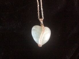 Silver necklace with jade and marcasite pendant