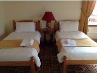 Pair of single pine beds.