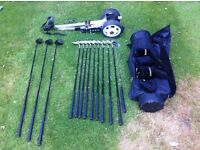 Woods, irons, putter, bag and trolley
