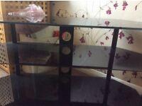 3 Shelves black glass TV stand/table