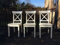 Three IKEA Ingolf ding chairs