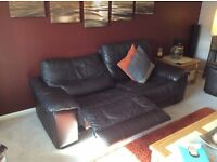 Leather Sofa (brown) Electric Recliner, 3 seater